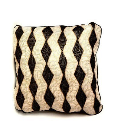 African Wax Print Cushion - Throw Pillow (Pharoah Black)
