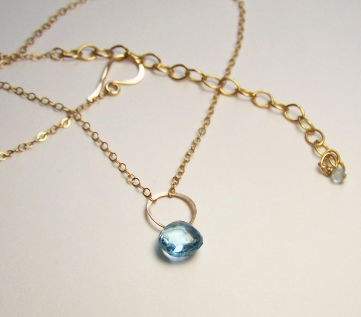 Topaz Necklace on Orbital Blue Topaz Necklace By Favorjewelry On Etsy