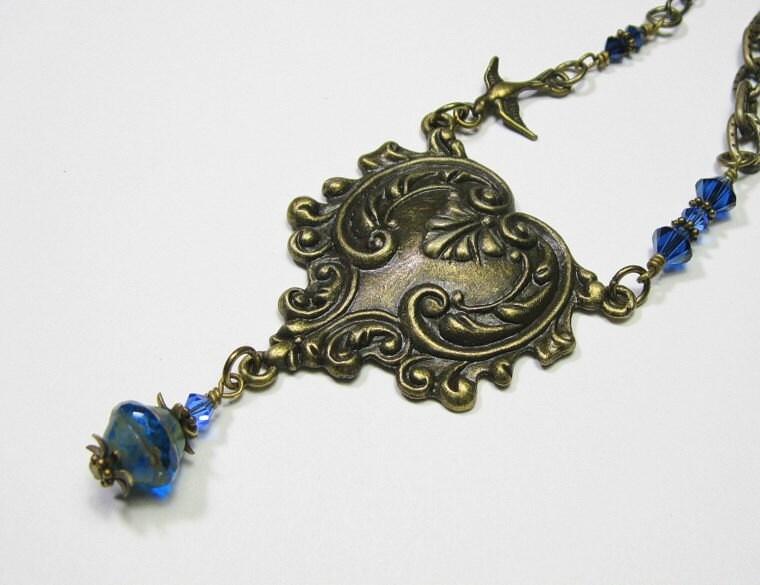 Sapphire Czech Glass Vintage Style Necklace