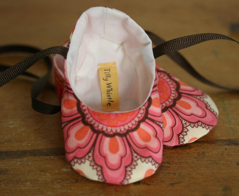 Pink Floral Ballet Slipper Baby Booties