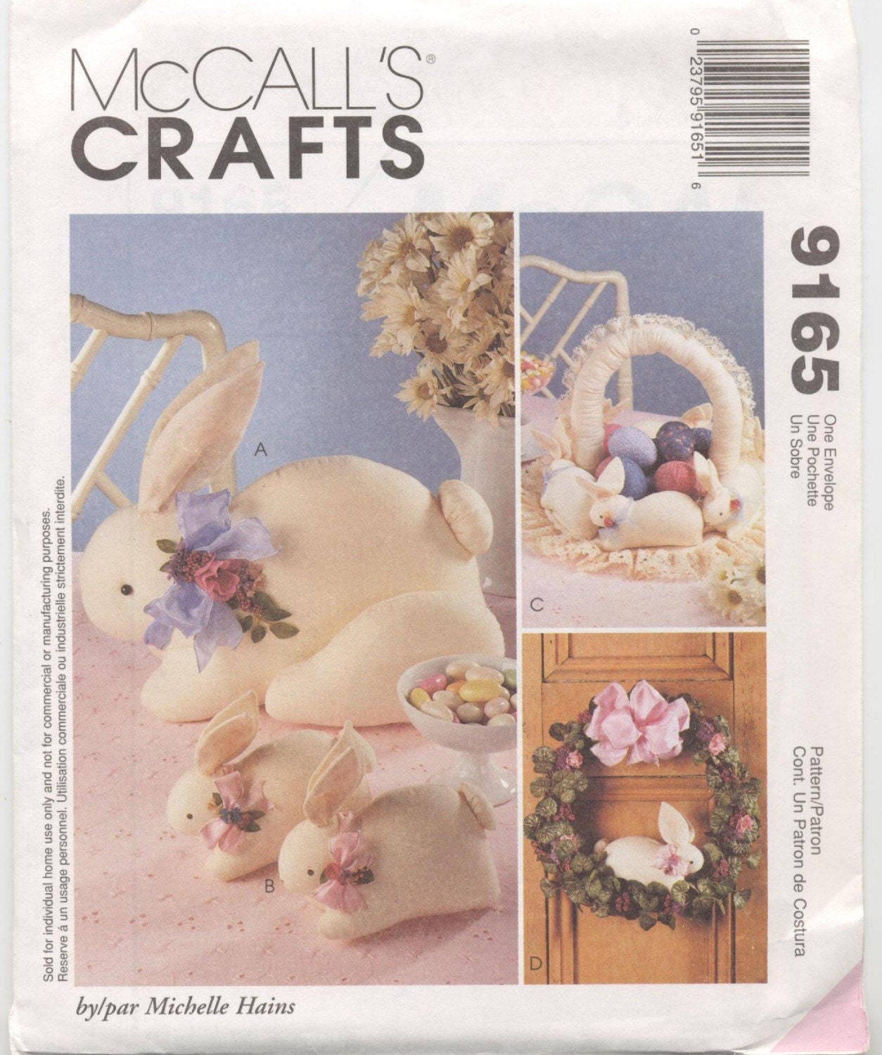 Bunny Decorations Pattern - Bunnies, Basket, and Wreath  McCalls 9165 UNCUT