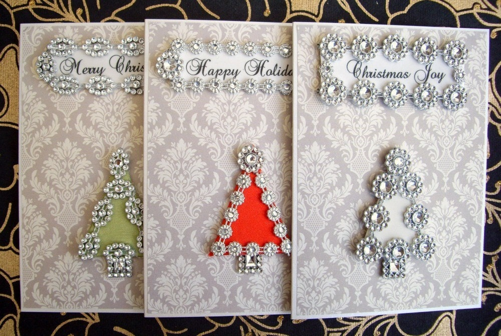 SALE Christmas Tree Card Collection / Assortment Set of 3 / Handmade Greeting Cards