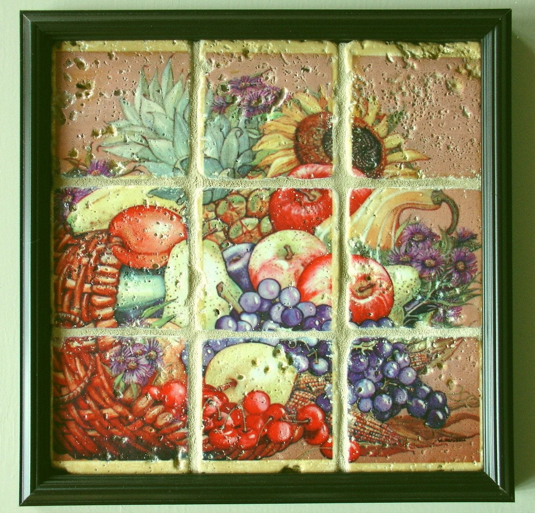 Framed Wall Art Stone Tiles Cornucopia
