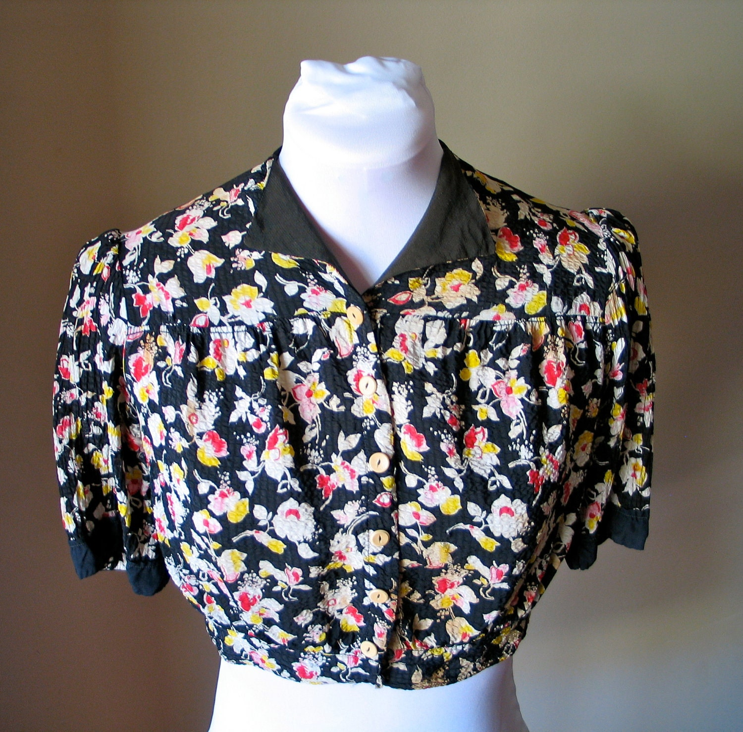 Vintage 1930s Black and Floral Bolero Blouse - AS IS