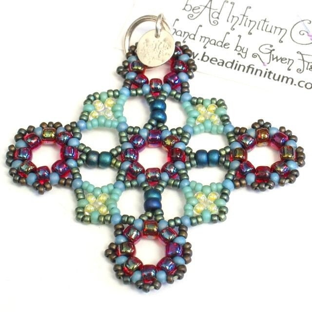 Greek Cross Pendant--Berries and Sage