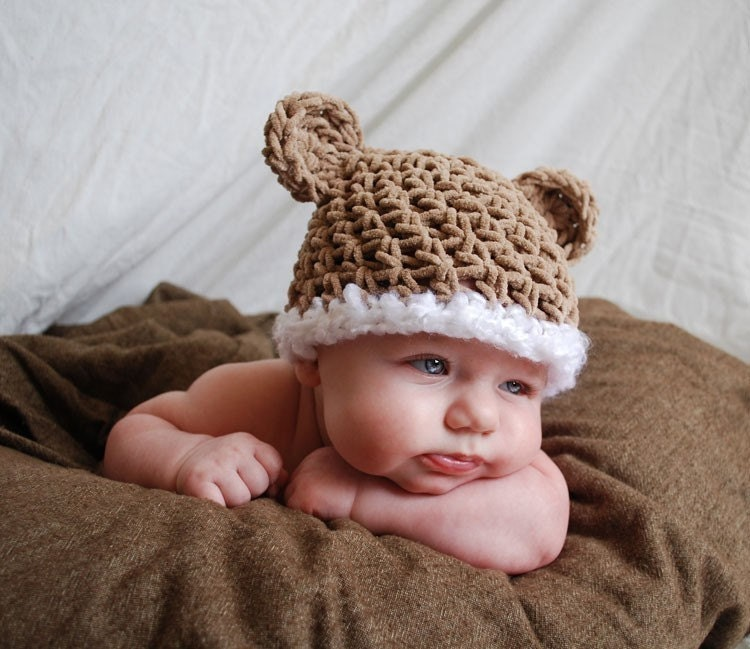 baby bear hat in tan faux suede - size 0 to 3 months - photography prop
