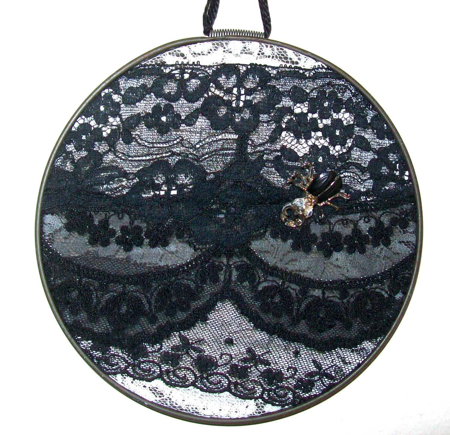 Items similar to embroidery hoop art bug on black lace