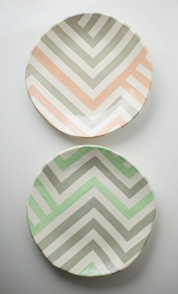 Grey & Peach Zag Dish