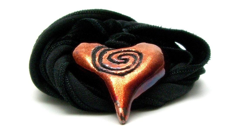 Hypnotic Copper Raku Heart Pendant Raku Ceramic Jewelry Handmade by MAKUstudio