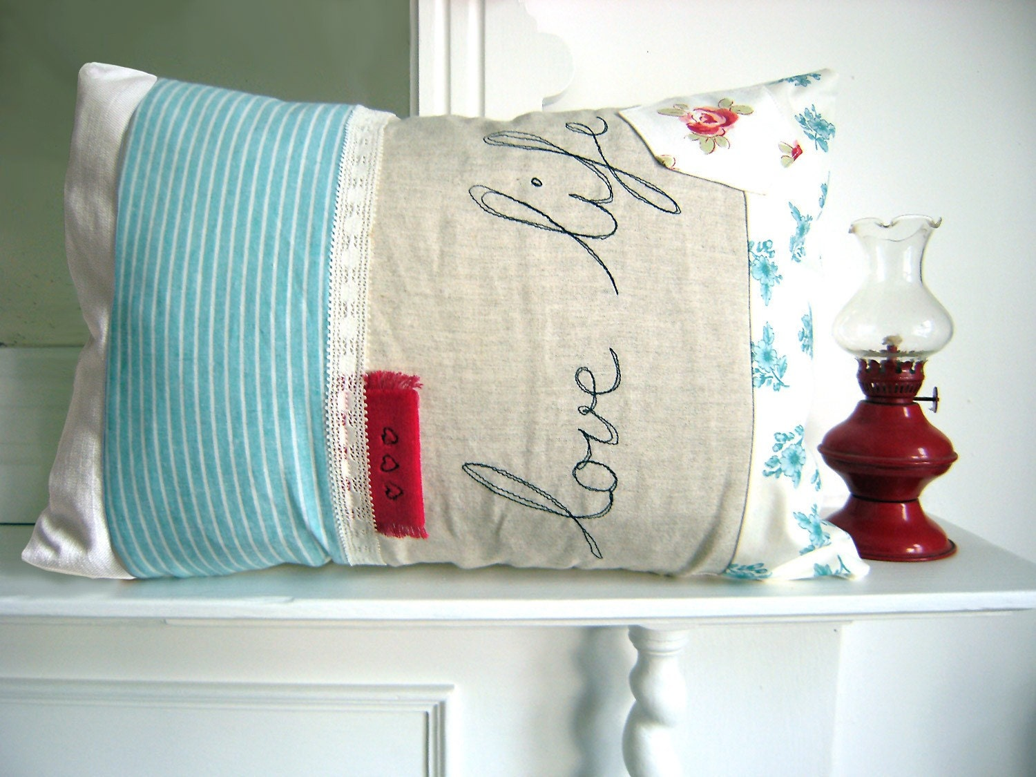 Embroidered Pillow Cover - 'Love life' cushion in turquoise and scarlet red 16 x 12