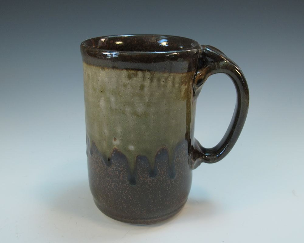 Large Brown and Ash Glazed Beer Stein Coffee Mug - Holds 20 ounces