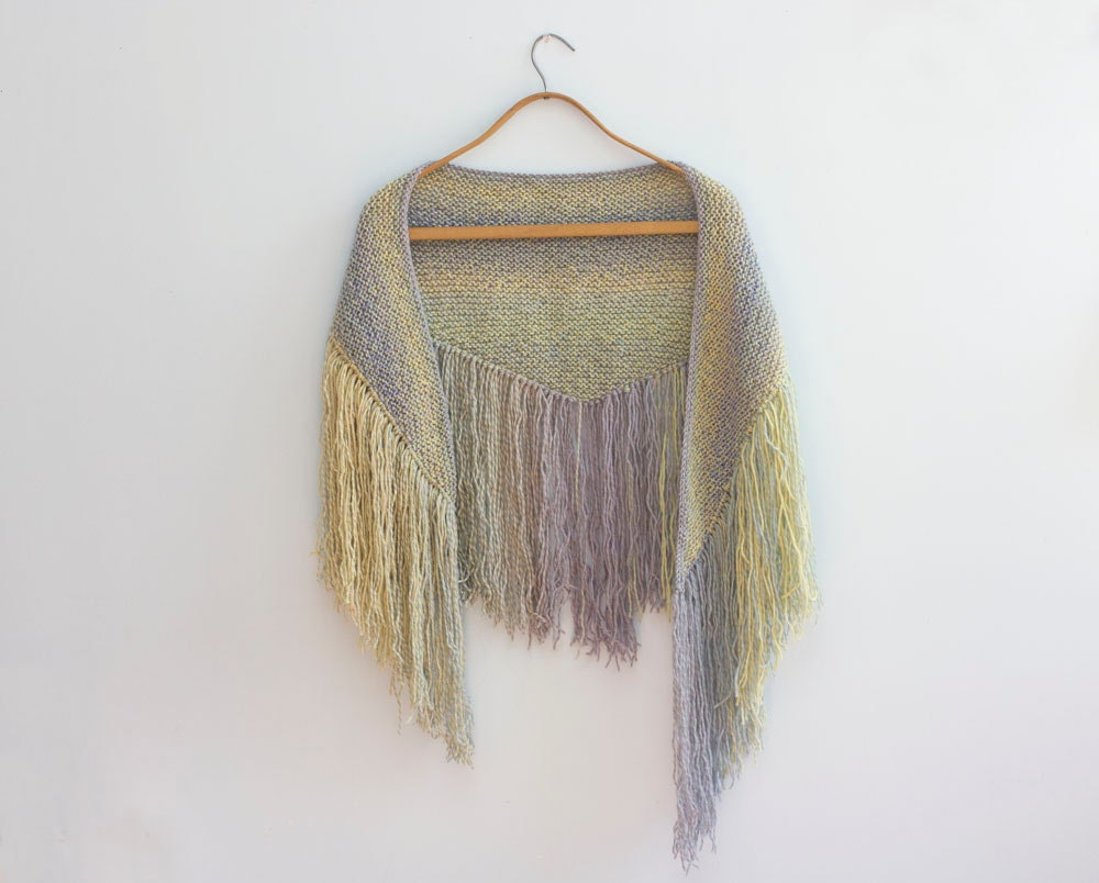 Pastel Fringed  Knit Scarf, Hand Knit Boho  Scarf , Triangle Scarf, Blue, Yellow - beadedwire