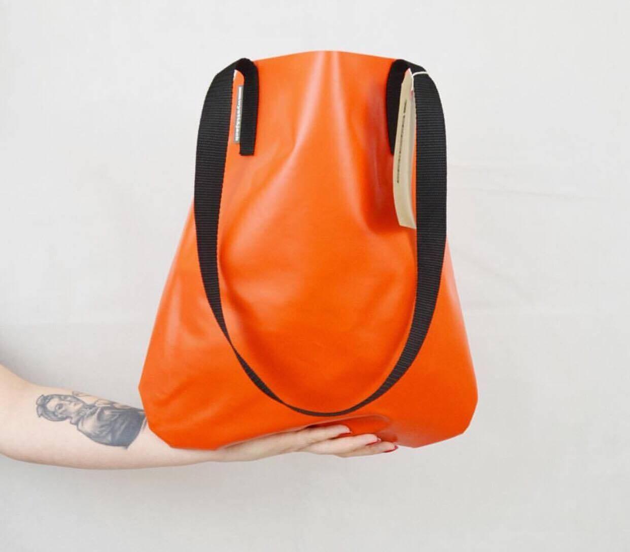 Handmade in UK Wyatt and Jack Orange Recycled Bouncy Castle Vinyl PVC Tote Shopper Shoulder Bag