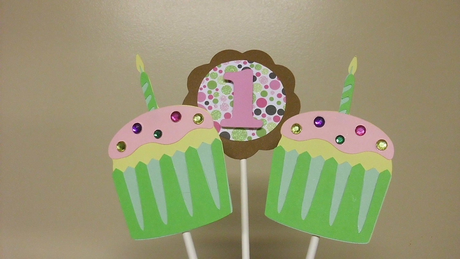 Cupcake Center Piece or Cake Topper (price is for 6 stakes total)