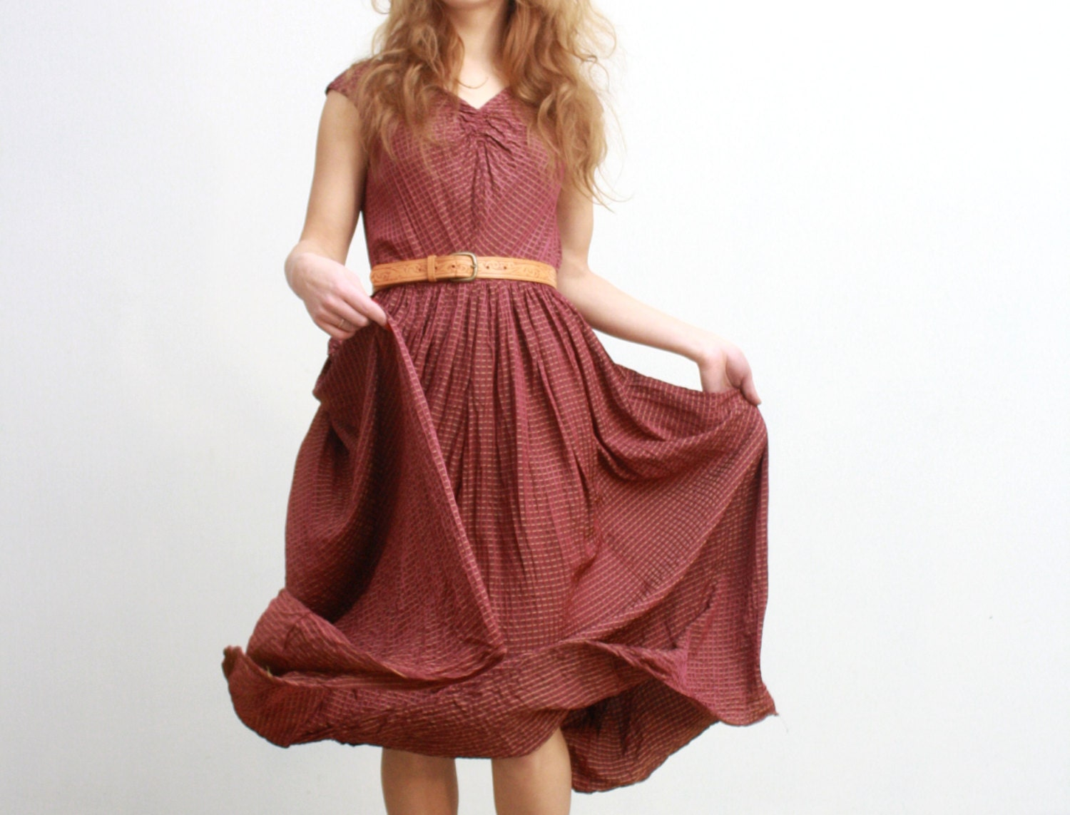 Vtg oxblood maximum bushiness dress from 50's - AbleCrewVintage