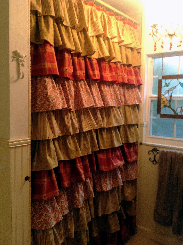 Ruffled shower curtain beautiful and romantic