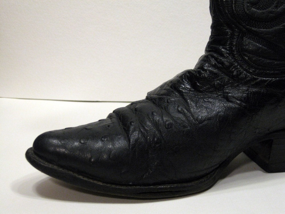 Rudel Black Ostrich Skin Cowboy Boots By Theturtleandtheray