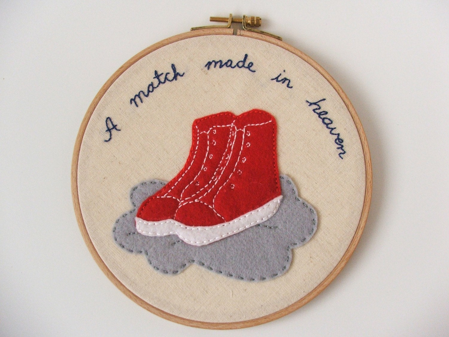 A match made in heaven - embroidery applique hanging hoop wall art