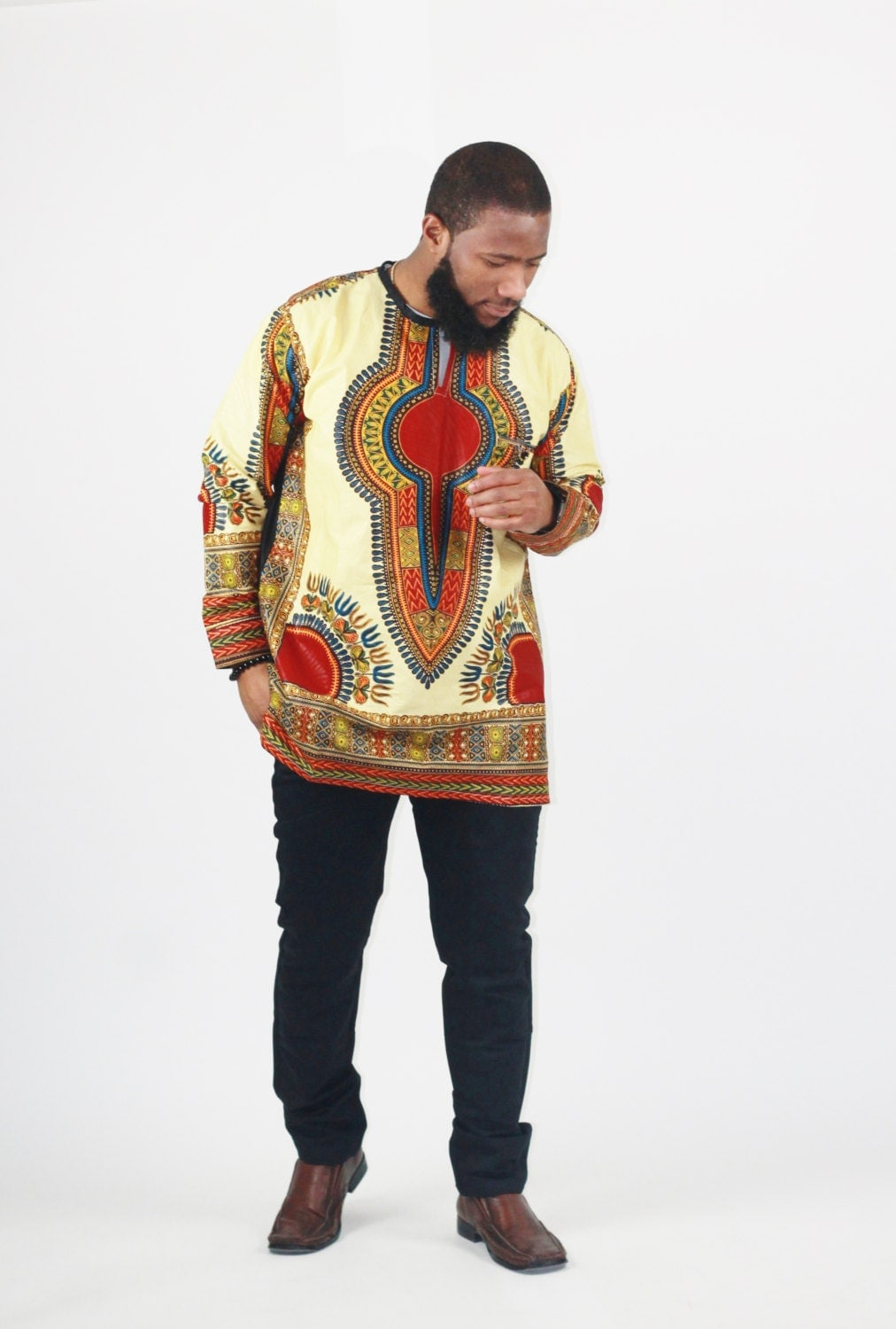 Dashiki Mens Peace Sign Dashiki African Shirt Black at