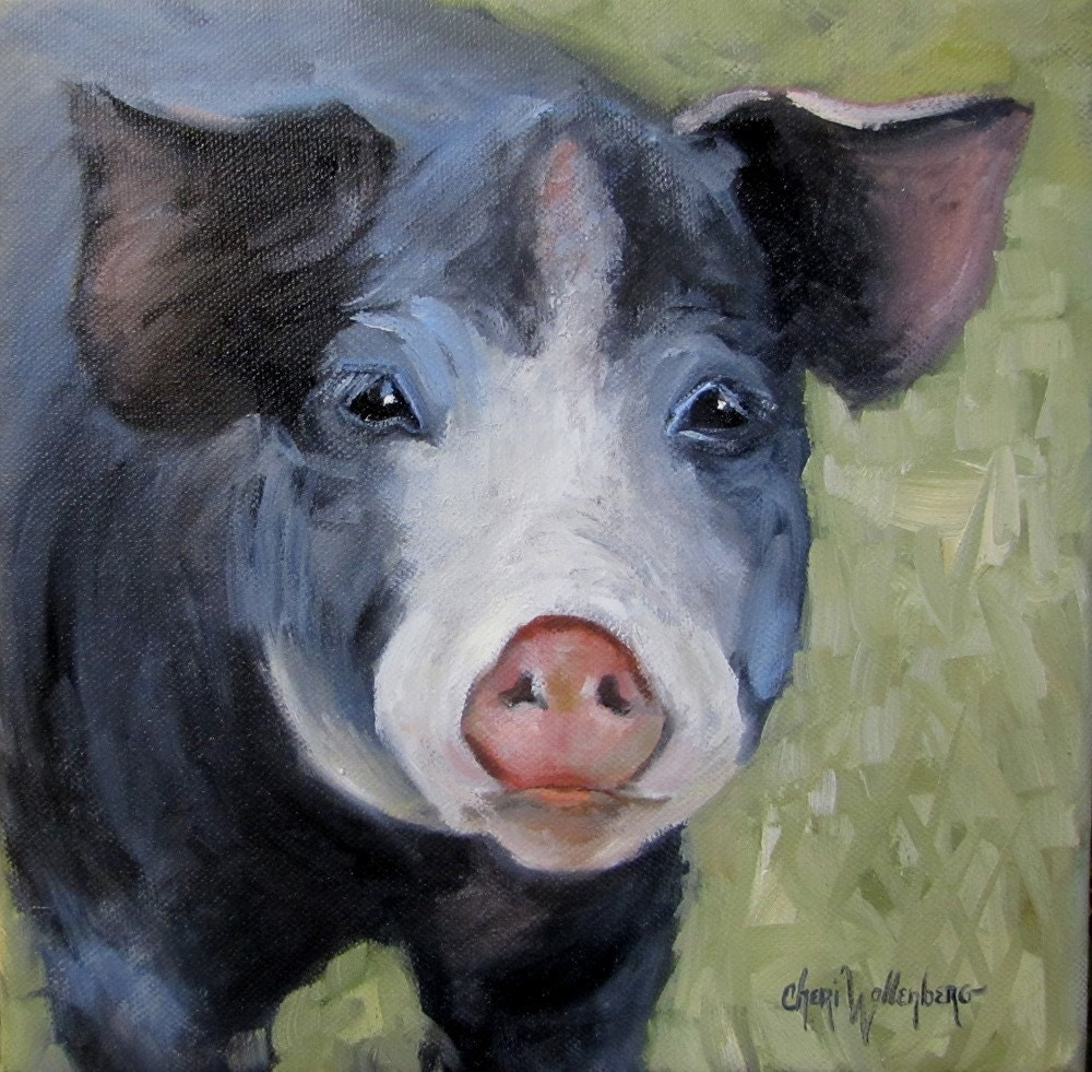 Pig Painting - Dufus - Original Oil Painting