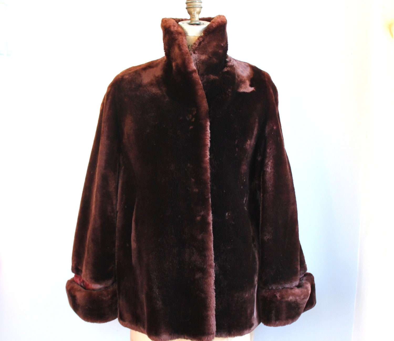 Vintage 1960s Fur Coat Mouton Fur Coat By