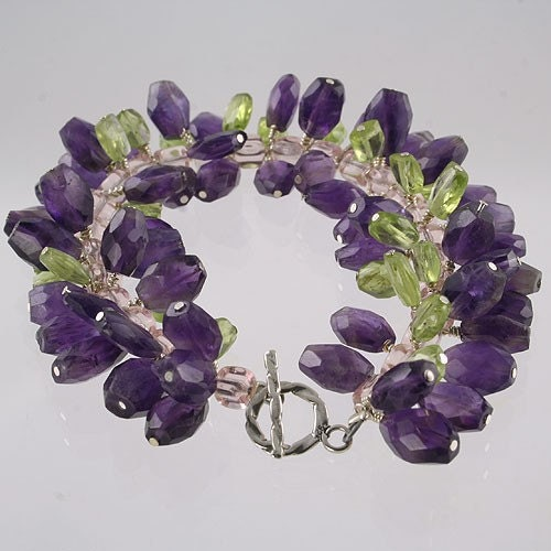 Purple Rain - Handmade Amethyst and Peridot Bracelet