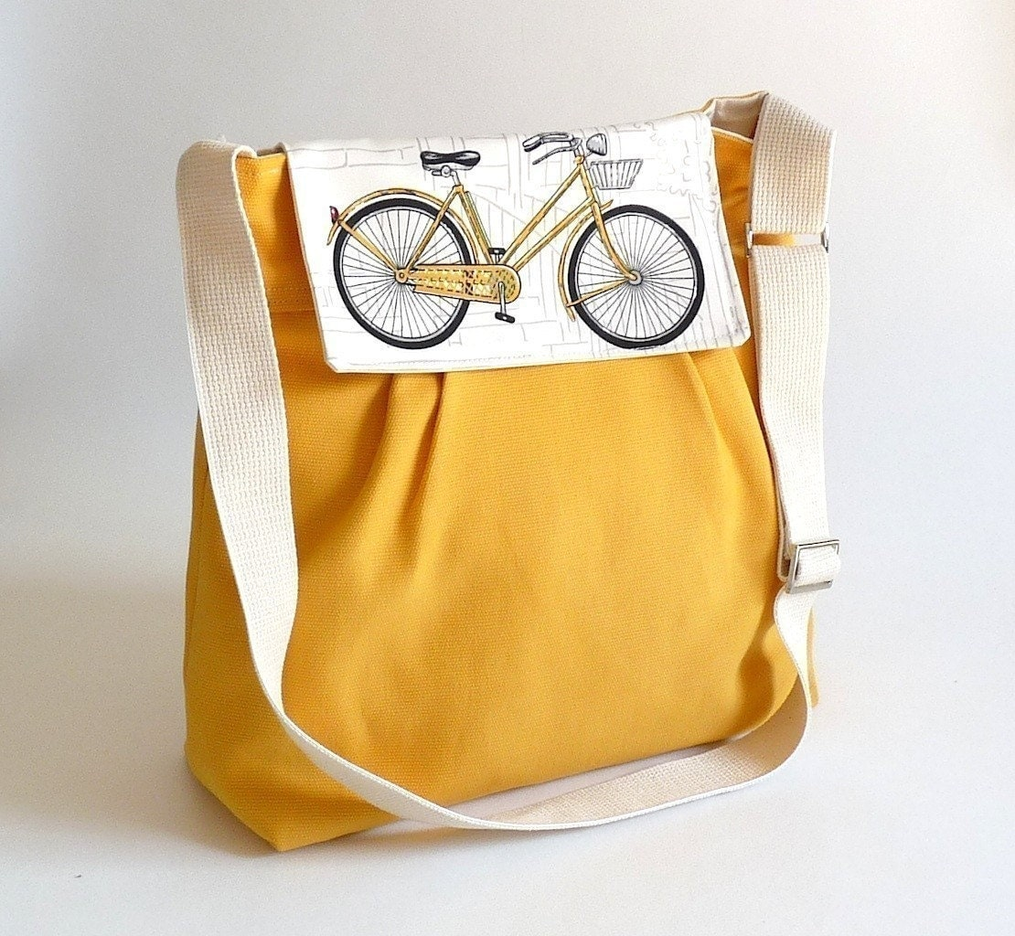Ready to ship LA POMME - Large Dark Yellow French with Bicycle Flap-Water-resistant tent canvas lining