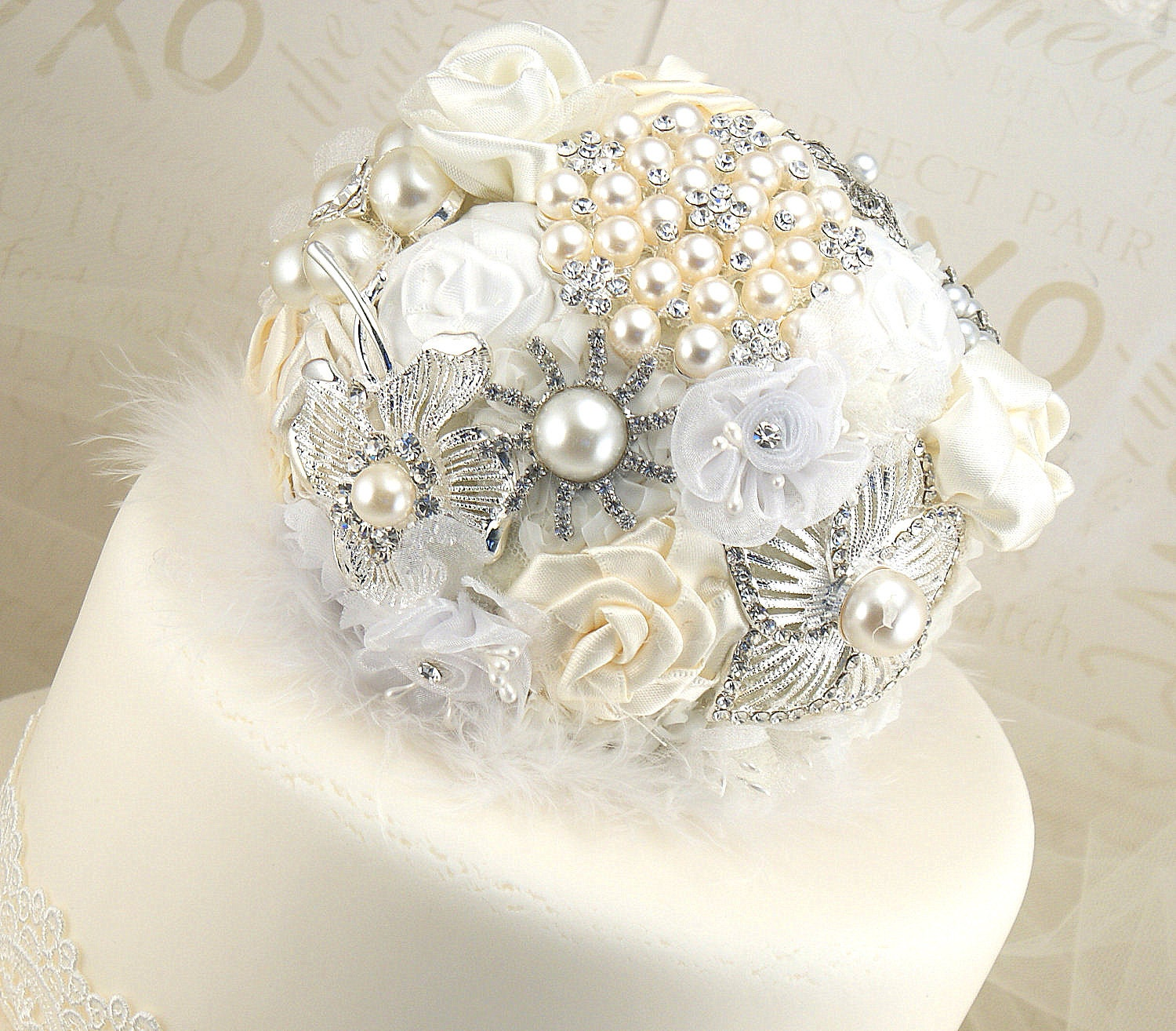 Brooch Cake Topper- Wedding Jeweled Topper in White, Cream and Ivory with Brooches and Handmade Flowers