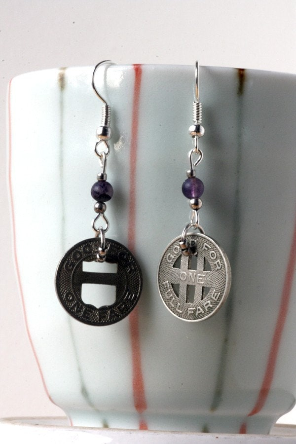 Mixed Transit Token Earrings with purple beads