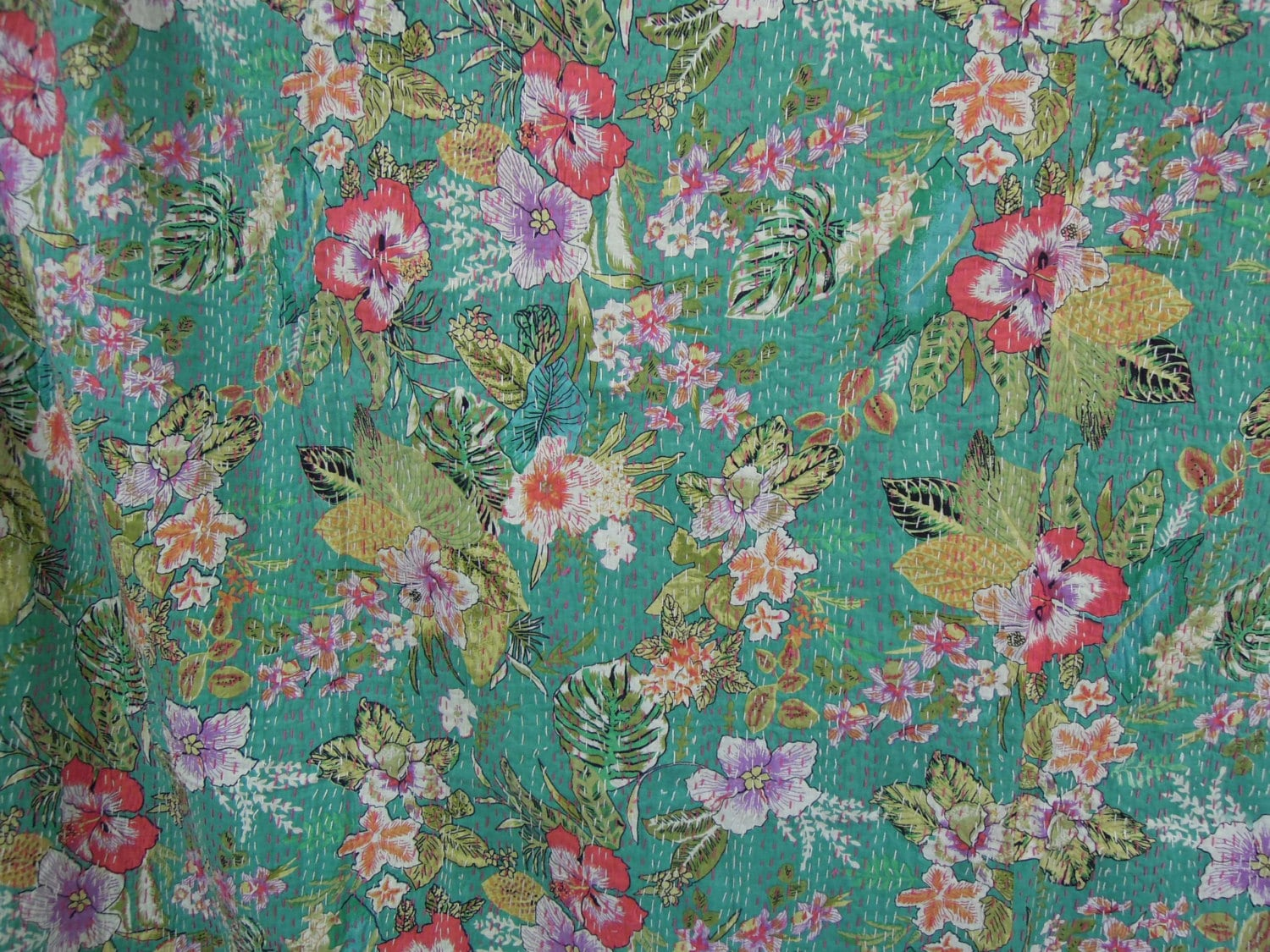 Cotton Floral Sari Indian Quilt Kantha Quilt Quilted By