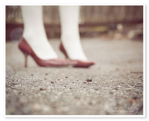 Red High Heels Photograph 8x10 fine art photo print - surreal dreamy portrait wall art print - red vintage style retro decor - fashion - JillianAudreyDesigns