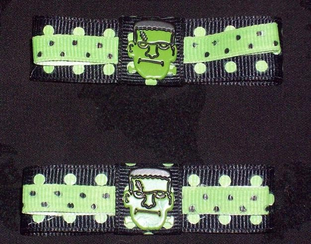 black and neon green hair. frankenstein neon green polka dot
