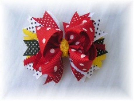 Minnie Mouse Layered Stacked Hair Bow - Available in 4 or 5 Inch - Alligator or Barrette