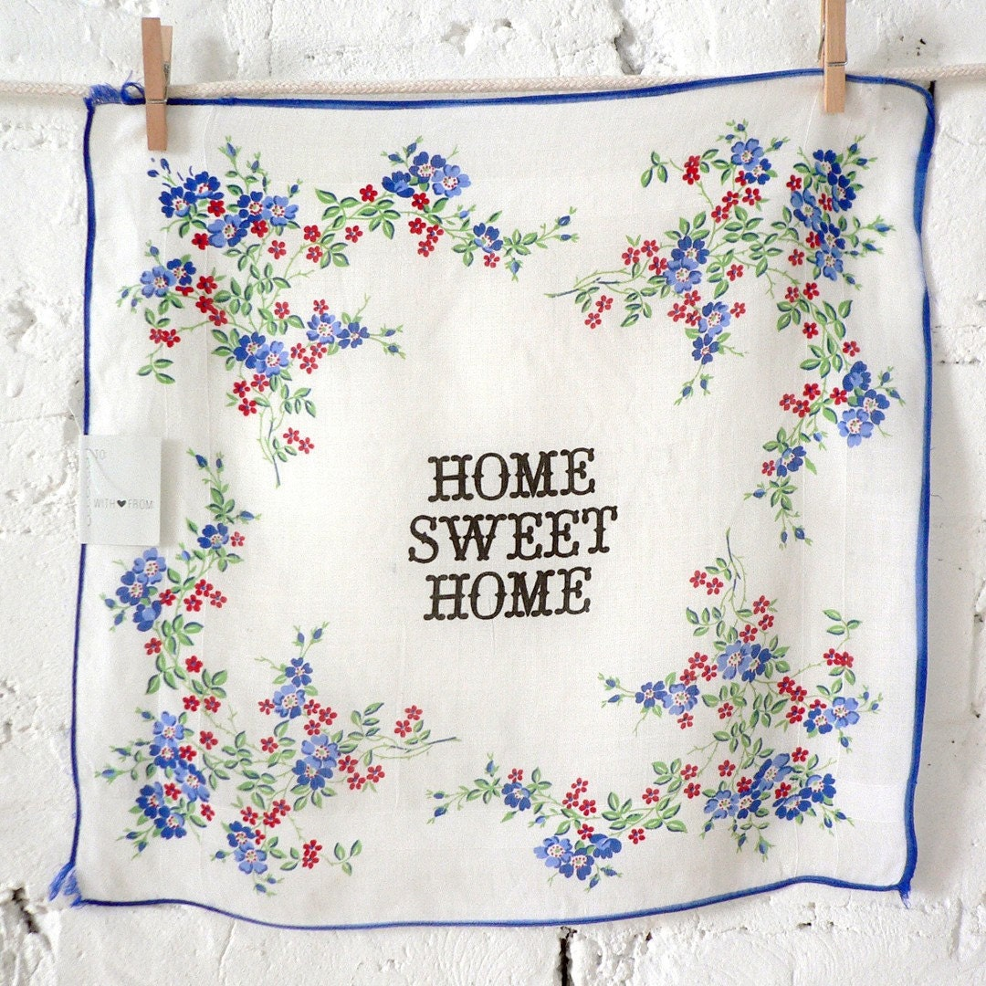 HOME SWEET HOME Vintage Handkerchief Card