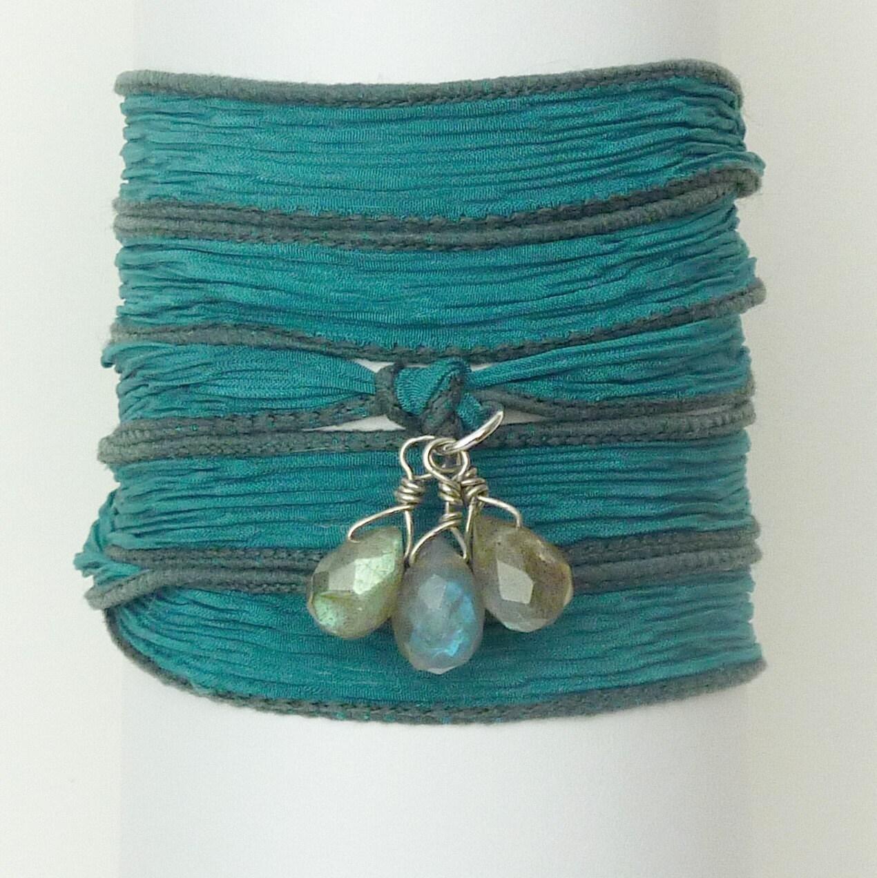Silk Ribbon Wrap Bracelet with Labradorite Briolettes