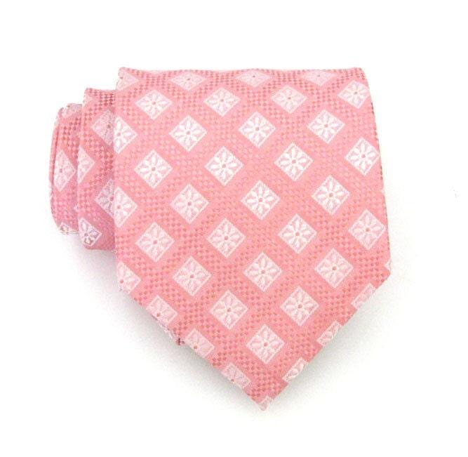 Pink Snowflake Silk Tie