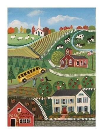 AUTUMN FUN Folk Art Painting Print PUMPKINS, APPLES, TURKEYS School Bus, Children, FUN ART POSTER