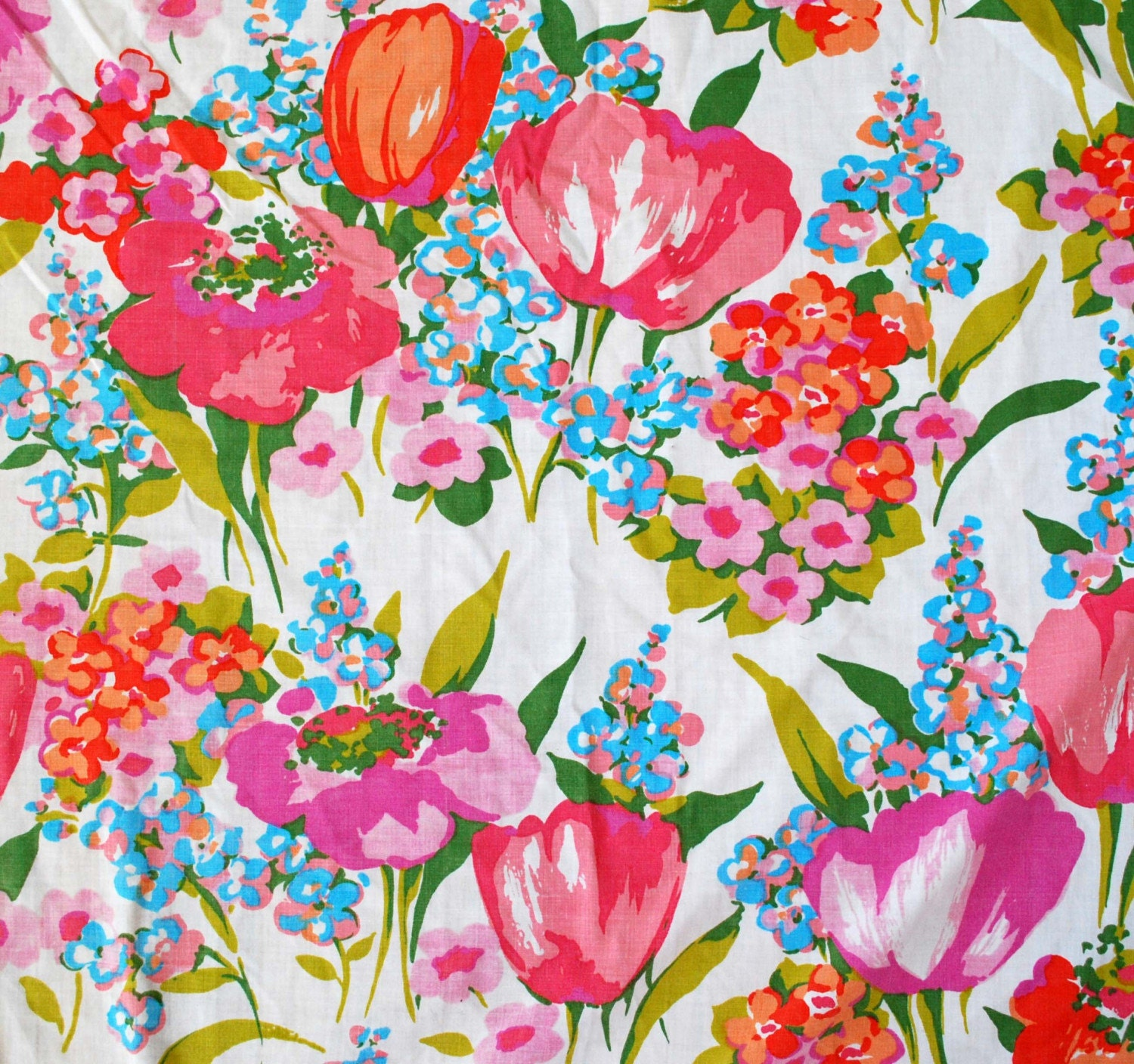 Beautiful Tulip Motif Vintage Twin Flat Sheet