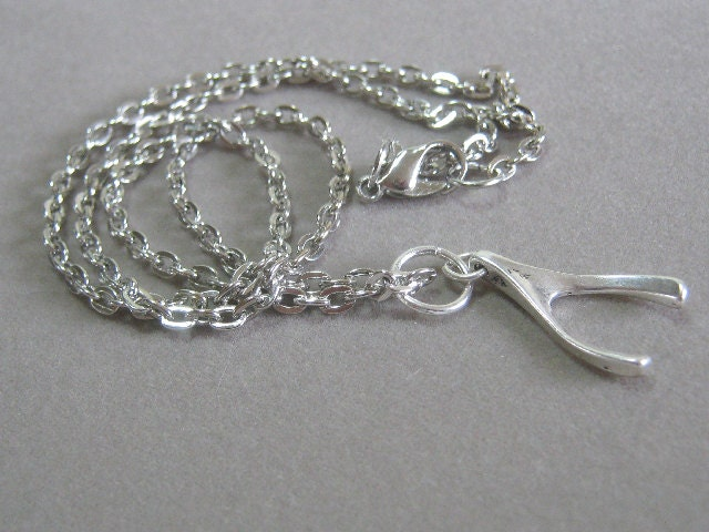Wishbone Pendant Sterling Silver Plated Charm Necklace