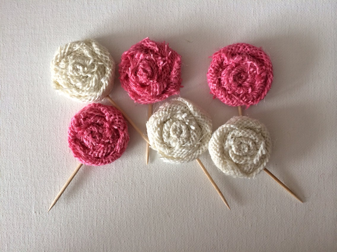 Pink and White Burlap Flower Cake or Cupcake Toppers