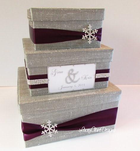Wedding Card Box, Winter Wedding Reception Card Holder Money Box