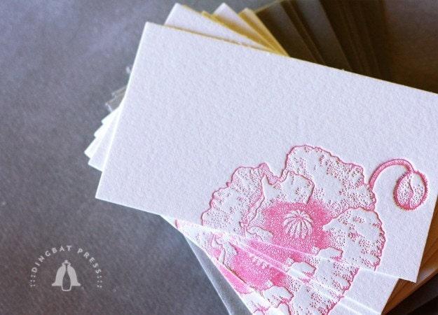 POPPY, Letterpress Enclosures/Escort Card/Place Setting. Set of 10. (Pink)