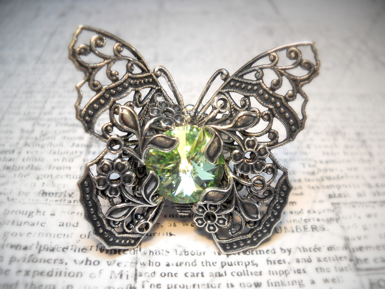 Kiss of Spring - Swarovski Crystal - Victorian Butterfly Filigree - Vintage Estate Rhinestone Cocktail Ring Adjustable