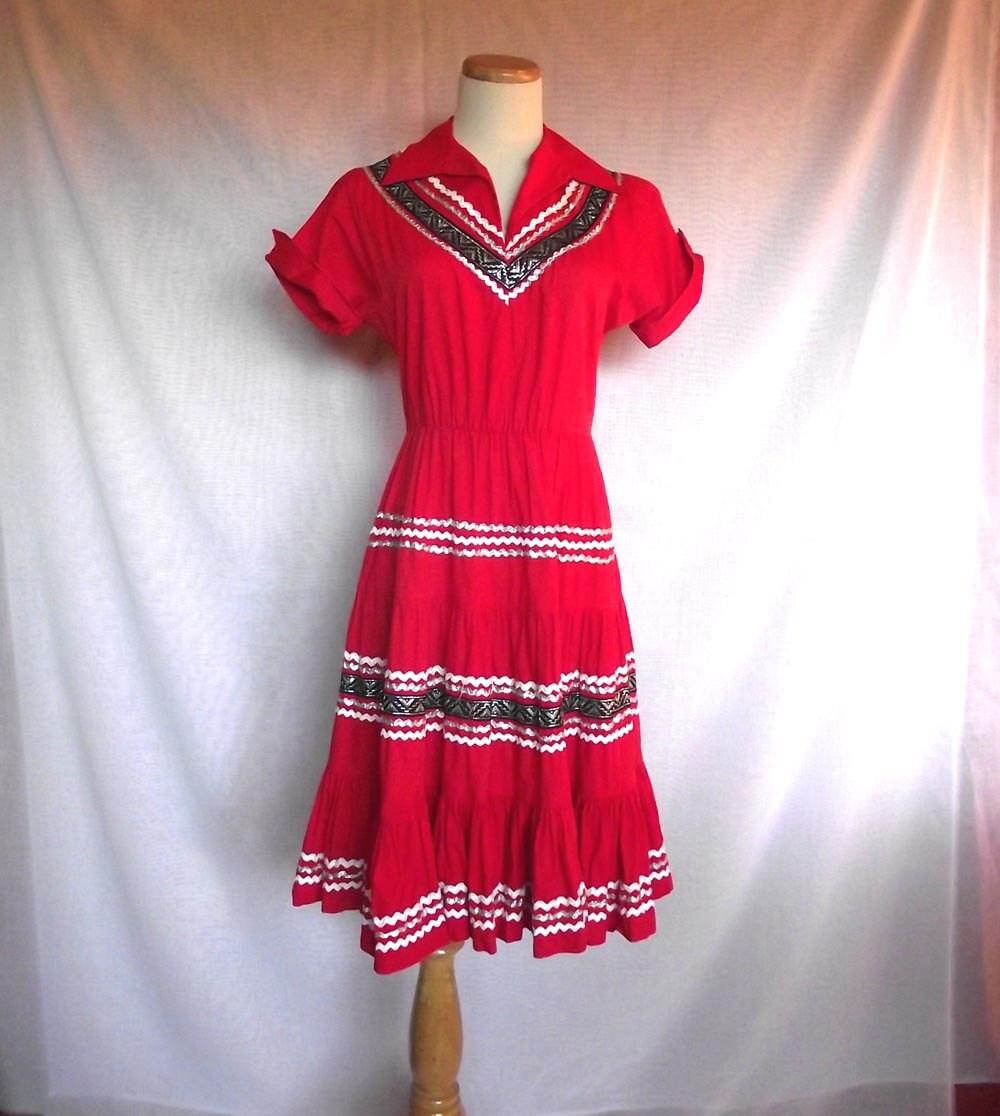 1960s Squaw Dress. Dance Dress. Rockabilly Red. As Is. Sz S