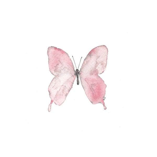 Mini Original Butterfly Painting  - watercolor artwork - pink, white, grey - reneeanne