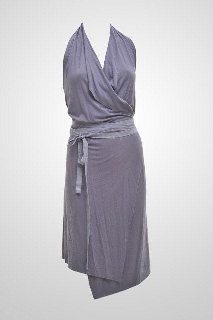 Gray wrap dress by Totali Fashion