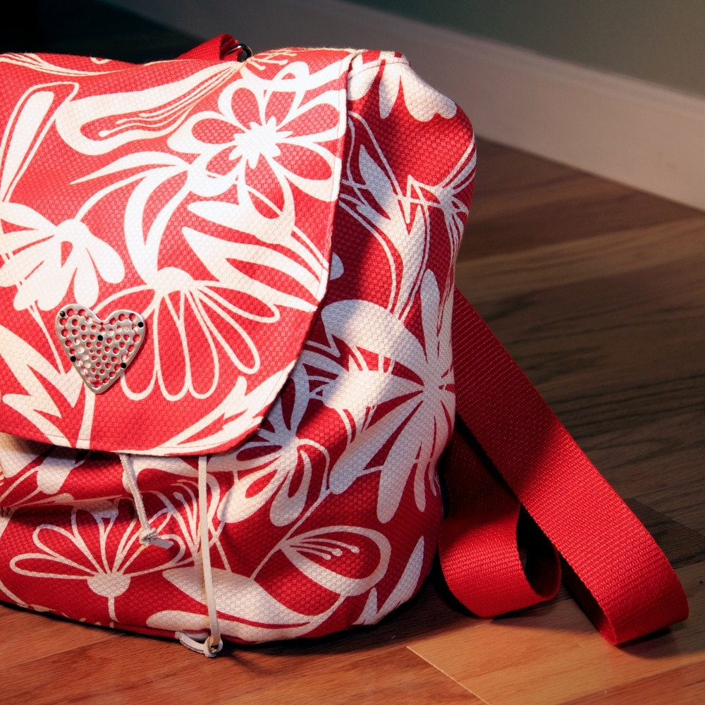 Red and White Floral Anna Backpack