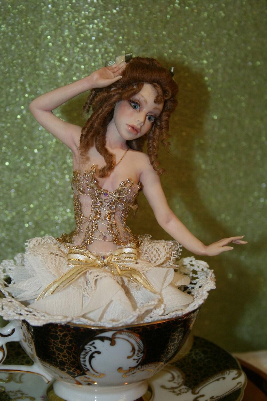 "OOAK Sculpture Victorian Teacup Fairy Art Doll ""Alina"""