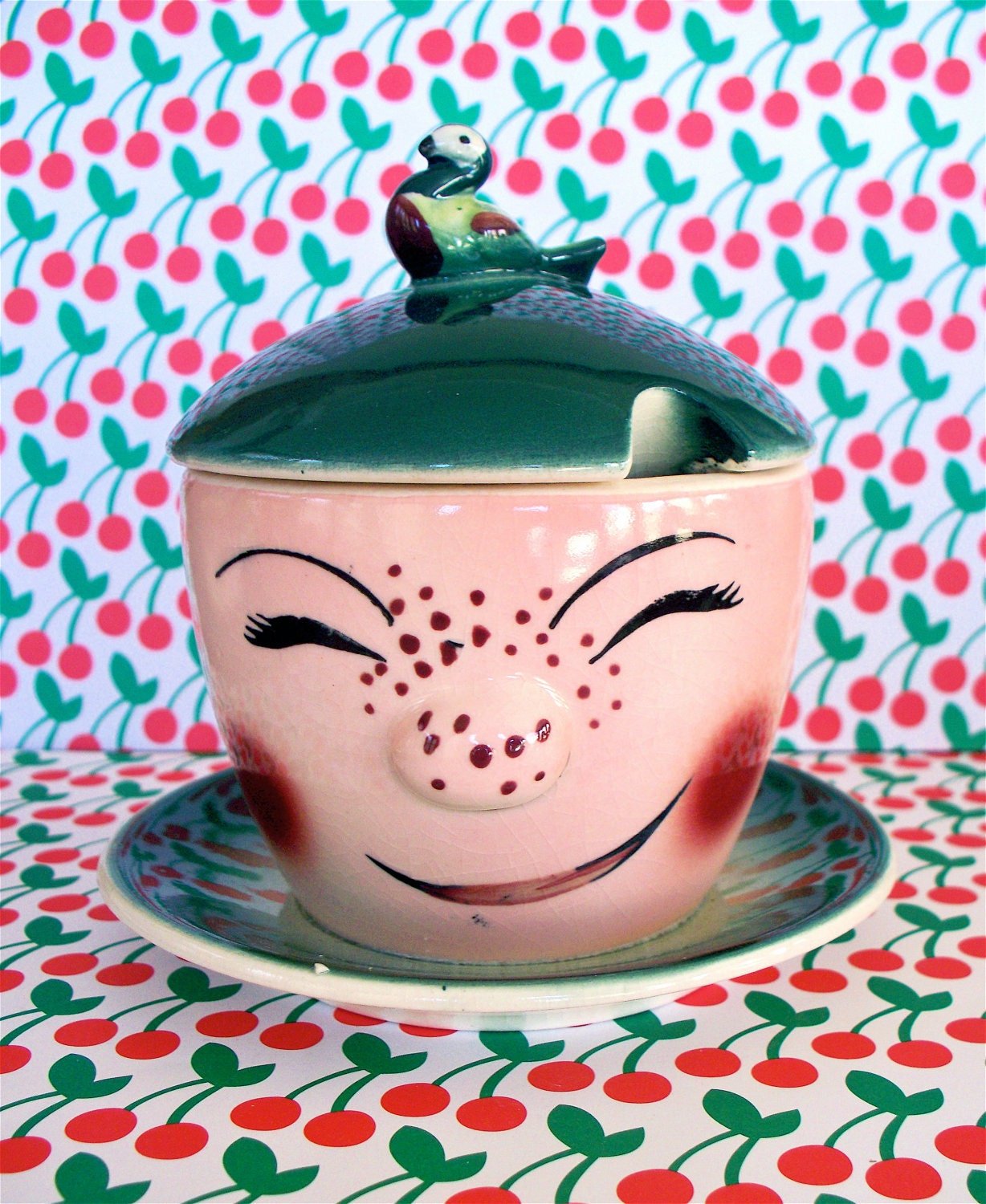 Vintage  Kitsch Cheeky Face Freckled Happy Covered Sugar Bowl Dish Pot Deforest  Like Japan