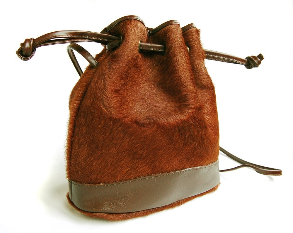 Caramel Brown Pony Hair Mini Drawstring Cross Body Bag by Deconize from etsy.com